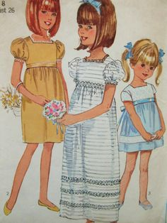 Vintage Simplicity 6860 Sewing Pattern, 1960s Dress Pattern, Little Girls' Dress, Empire Waist Child's Long Dress, Chest 26, 60s Sewing by sewbettyanddot on Etsy