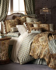 "My Fab bed for my DREAM Bedroom! I want it ALL!!!! ""Petit Trianon"" Bed Linens by Dian Austin Couture Home at Horchow. #HSN #housebeautiful"
