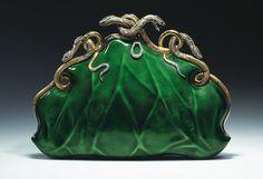 Aloisia Rucellai Evening bag, Gold & platinum, translucent enamel, diamonds and rubies, Circa 1968.