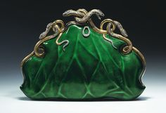 Evening bag, ca. 1968, by Aloisia Rucellai, made of gold, platinum, translucent enamel, set with diamonds and rubies