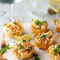 Thai Chicken Salad Wonton Cups #recipe via RecipeTin Eats http://www.yummly.com/recipe/Thai-Chicken-Salad-Wonton-Cups-1049663