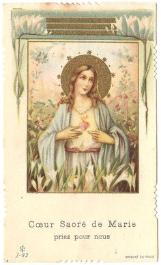 Immaculate Heart of Mary Antique Vintage French by 12StarsVintage