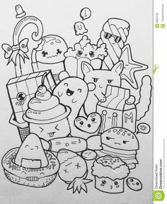 Illustration about Doodling sweets, foods and cute faces. Illustration of anime, illustration, foods - 56822746 Cute Doodle Art, Doodle Art Designs, Doodle Art Drawing, Doodle Sketch, Easy Doodles Drawings, Art Drawings Sketches, Kawaii Drawings, Cute Drawings, Kawaii Doodles