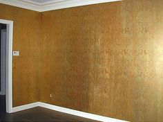 This elegant wall finish i=made with damask stencil. Great room idea for a living Room decor. Elegant stencils by Cutting Edge Stencils Faux Painting, Stencil Painting, House Painting, Stenciling, Metallic Paint Walls, Gold Walls, Metallic Colors, Acrylic Colors, Damask Stencil