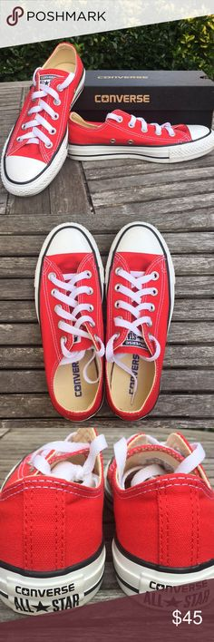 Red Converse All-Star Sneakers Brand new Converse kicks Women's size 5, Men's size 3 Worn around the house once before my son decided they didn't fit him. 😤 In perfect condition, from smoke free home. Converse Shoes Athletic Shoes