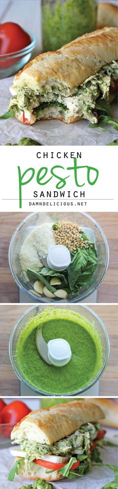 Chicken Pesto Sandwich - Lightened up with Greek yogurt, this hearty sandwich is one of the quickest, most tastiest meals you'll ever have! (Gourmet Sandwich Recipes)