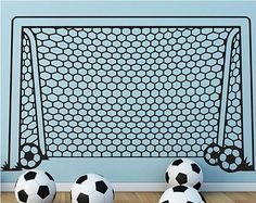 Vinyl Soccer Wall Decal Decor Sticker Football Goal Net Wall Art Mural