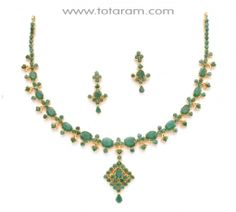 Buy 22K Gold Emeralds Necklace & Drop Earrings Set - SET220 with a list price of $2,425.99 - 22K Indian Gold Jewelry from Totaram Jewelers