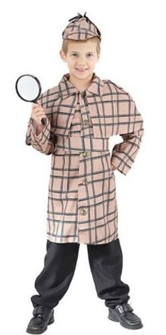 """Sherlock Holmes Childs Fancy Dress Costume - M 134cms by Parties Unwrapped Ltd. $20.99. Great quality and value Sherlock Holmes 3pc childs fancy dress costume comprising the following: 1. Tan and navy blue detective style trench coat. 2. Matching velcro fasten belt. 3. Tan and navy blue cap. Size - Medium (Childs Height 122-134cms/48-53""""). * Please Note - Trousers, shoes or magnifying glass NOT included. See our other store items for more sizes."""