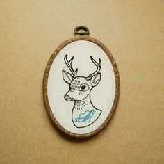 Tattooed Deer (I love Bambi) Hand Embroidery Hoop Art (modern hand embroidery wall hanging - tattoo - reindeer patch - animal embroidery) by ALIFERA on Etsy