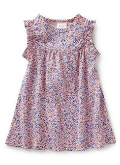 50% cotton/ 50% modal jersey dress in all over flower print with sleeve frills and gathers across chest.