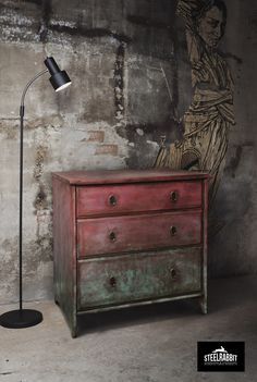 Steel Rabbit - Industrial Old Paint Commode . Annie Sloan + dark wax