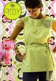 Womens Tunic Cami Dress Mini Dress Fabric Flower Pattern - Amy Butler Anna Tunic Sewing pattern - midwest modern - Womens plus sizes via Etsy