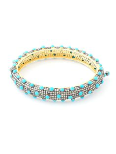 Loren Jewels SS and 14K White Gold Turquoise and Brown Diamond Bangle. Brown Pave` Diamond Bangle with Small Turquoise Beads Bracelet. $4,595.00