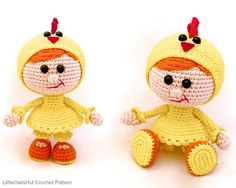 116 Girl doll in a chicken outfit Amigurumi by LittleOwlsHut