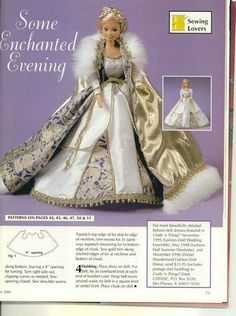 Barbie Some Enchanted Evening Gown & Coat Patterns Sewing Barbie Clothes, Barbie Sewing Patterns, Doll Clothes Patterns, Doll Patterns, Barbie Mode, Barbie And Ken, Barbie Gowns, Barbie Dress, Barbie Fairy