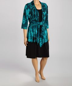 Love this Black & Green Abstract Layered Dress - Plus by DJ Summers on #zulily! #zulilyfinds
