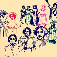 Suffragettes by Marie Åhfeldt - Mås Illustra  #illustration #drawing #masillustra #portrait #colourful #history