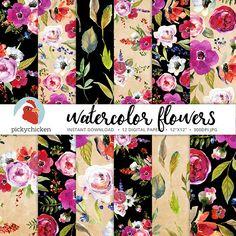 Watercolor Flowers Digital Paper  Floral Digital Paper Leaf