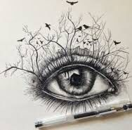 Yet another eye pencil drawing. The reason why i posted this was because of the creativity. On the crease of the eye, you can see branches of trees growing upwards almost like a forrest growing on your eyelids. I admire the creativity. Image taken from Google Images