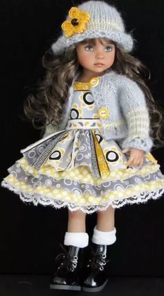Handmade dress and sweater set made for Effner Little Darling doll