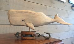 Sperm Whale on wooden pulley