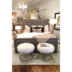 Alice Lane Home Collection | Always obsessed with these furry ottomans.