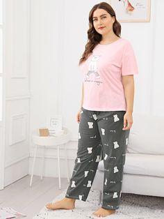 45e138ccc77 Shop Plus Cat   Letter Print Pajama Set online. SheIn offers Plus Cat    Letter Print Pajama Set   more to fit your fashionable needs.