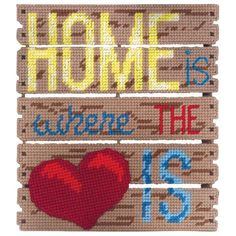 Home Is Where the Heart Is Wall Hanging Plastic Canvas Kit - Herrschners