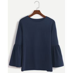 SheIn(sheinside) Navy Round Neck Bell Sleeve T-shirt (159.925 IDR) ❤ liked on Polyvore featuring tops, t-shirts, blusas, navy, flared sleeve top, blue top, navy blue tee, navy tee and navy long sleeve t shirt