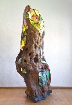 Driftwood mosaic art driftwood stained glass fused for How to make stained glass in driftwood