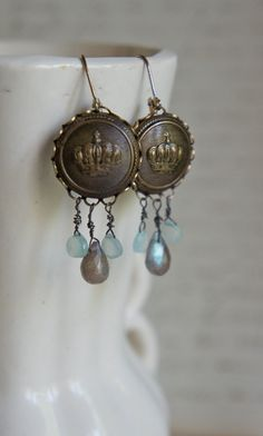 Vintage button assemblage earrings with semi precious stones - Kensington by French Feather Designs..via Etsy.