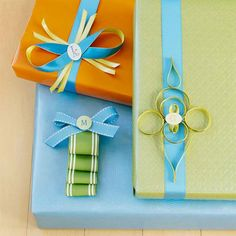 Recycling ribbon leftovers to create one-of-a-kind bows and accents.