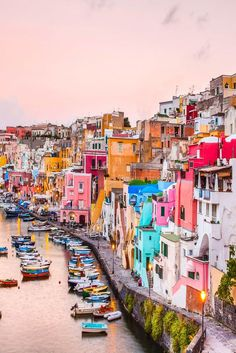 Procida in the gold of Naples - a feast for the eyes - Ramona Bu. 81 - - Procida im Gold von Neapel – eine Augenweide The Italian island of Procida is a colorful work of art in the Gulf of Naples. Europe Travel Tips, Travel Goals, Italy Travel, Places To Travel, Places To See, Travel Destinations, Travel Style, Voyage Europe, Photos Voyages