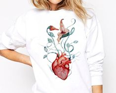 Original artwork on apparel items and wall decor by ZuskaArt Crew Neck Sweatshirt, Graphic Sweatshirt, Pink Floyd, Love Flowers, Rock Music, Original Artwork, Etsy Seller, How To Draw Hands, Watercolor
