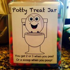potty training tips. potty treat jar