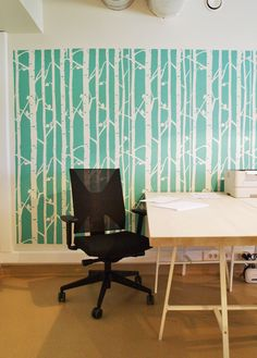 Birch forest stencil for office or home! Handmade tree birch pattern for wall decor ;)