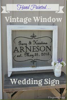 hand painted vintage window via Elegant Nest...