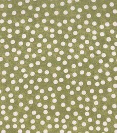 Recuerdo de calicó ™ tela de algodón beige-Print puntos en verde