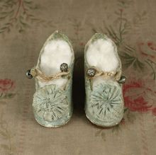 Extremely Rare Antique All Original Signed EMILE JUMEAU Doll Shoes, Small Size