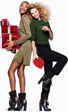 Natasha Poly and Jourdan Dunn for H&M Holiday 2015 campaign