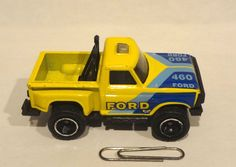 Vintage Matchbox Ford 460 Flareside Pickup 1982 Toy Car Yellow And Blue