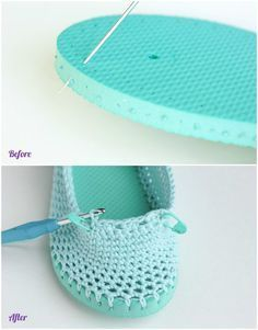 DIY Crochet Slipper with Flip Flop Sole Free Pattern: combine flip flop sole into your crochet shoes to wear outside in Summer. These lacy, cotton This Flip Flop Crochet Slippers Free Pattern is a must make and don't they look great! Diy Crochet Slippers, Crochet Slipper Pattern, Crochet Sandals, Crochet Boots, Crochet Clothes, Crochet Patterns, Crochet Crafts, Easy Crochet, Crochet Baby