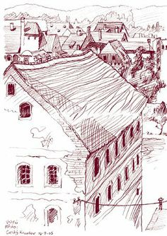 Children's book illustrator and WONDERFUL sketch artists: Lynne Chapman. This image is of Prague but she has many of all over the world, plus vibrant oil pastel (maybe?) landscapes and children's book illustrations on the site.