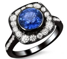 2.0ct Blue Round Sapphire Diamond Engagement Ring 18k Black Gold