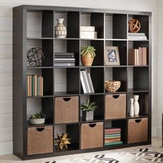 Better Homes and Gardens 25 Cube Organizer Room Divider, Espresso, Size: 09 inch Room Divider Bookcase, Cube Bookcase, Cube Shelves, Bookcase Storage, Cube Storage, Office Storage, Bookcases, Ikea Room Divider, Living Room Furniture