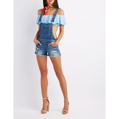 Charlotte Russe Dollhouse Denim Cut-Off Shortalls ($20) ❤ liked on Polyvore featuring indigo, denim cut offs, charlotte russe, denim short overalls and short overalls