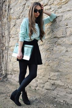 Mint green and black