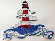 Leuchtturm, Meer Szene, nautische, 8 x 10, gerahmt, Quilling, Quilled Kunst