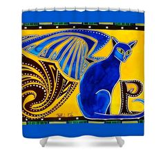 Cat Shower Curtain featuring the painting Winged Feline - Cat Art With Letter P By Dora Hathazi Mendes cat, wings, letter, alphabet, letter p, winged feline, winged cat, cats, wing, feline, sphinx, mystical, demonic, mythology, destiny, pisica, ornamental, decor, decorative, creature, hybrid, hybrid animal, warrior cat, print, gifts, colourful, dora Hathazi Mendes, art